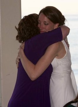 Mother and daughter on wedding day