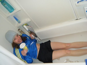 a marathon runner in an ice bath